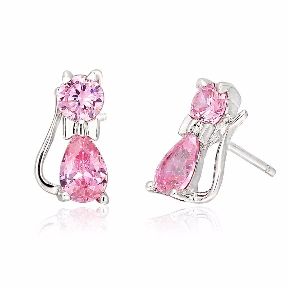 Cute 925 Sterling Silver Pink Cz Zircon Kitty Cat Stud Earrings For Las Mei S