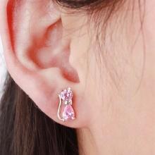 Cute 925 Sterling Silver Pink CZ Zircon Kitty Cat Stud Earrings For Ladies